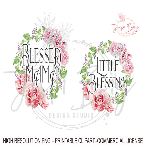 Mother Daughter Matching Set - Blessed Mama and Little Blessing PNG