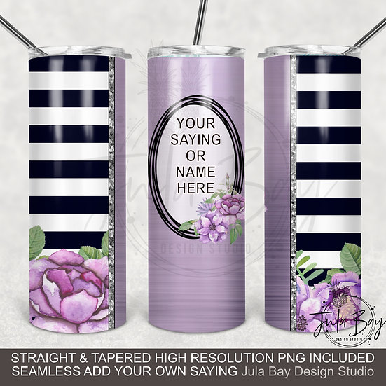 Purple Flowers Black and White Stripes Skinny Tumbler Design Full Tumbler