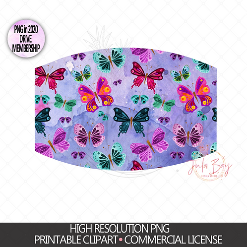 Butterflies Mask PNG -Butterfly Sublimation Mask Design - Butterfly Mask Clipart