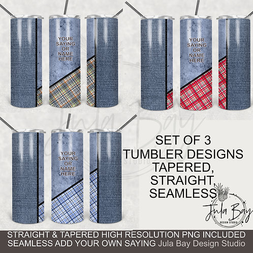 Blue Jeans Plaid Western 20oz Skinny Tumbler Designs PNG Tapered Template