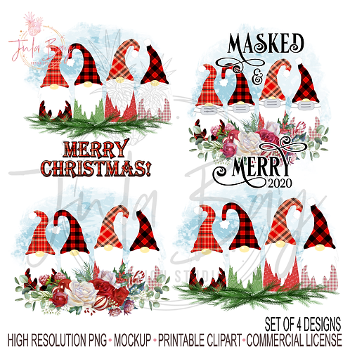 Family of 4 Gnomes PNG Bundle = Merry Christmas Gnomes Sublimation