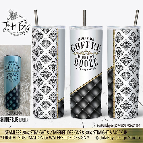 Damask Black and White Full Wrap PNG Split Cut Design Might Be Coffee Booze