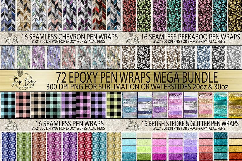 72 Pen Wraps Tangram Pattern for Epoxy Glitter  Pen Wrap for waterslide or p