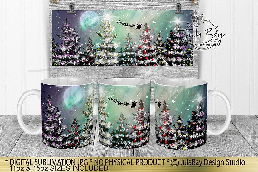 Christmas Northern Lights Mug Full Wrap Sublimation Design Santas Sleigh PNG