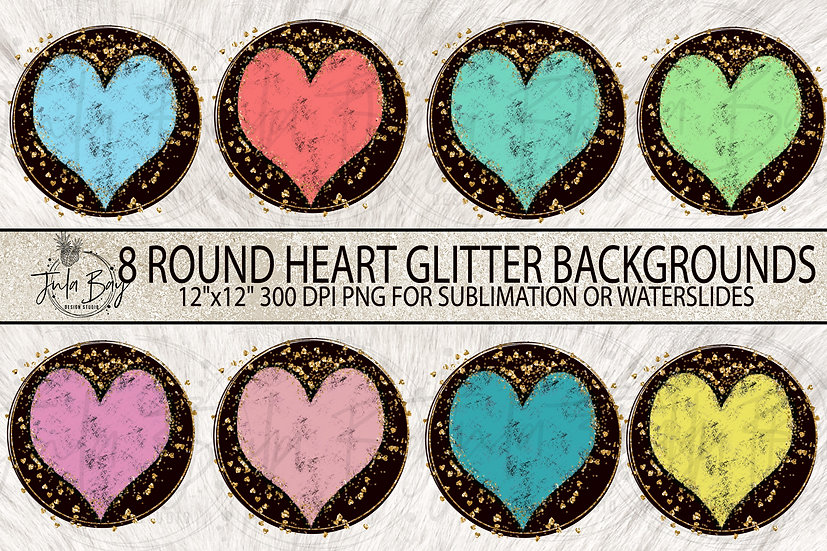 Round Glitter Hearts Sublimation Background Designs PNG