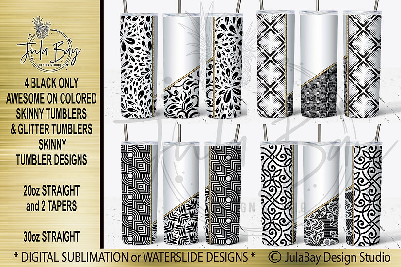 Tumbler Maker Full Wrap Waterslide Designs 20oz Skinny Bundle Geometric Colored