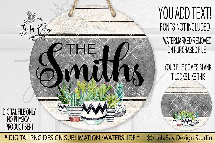 Welcome Sign PNG Sublimation Round Door Sign Design Succulent Sublimation