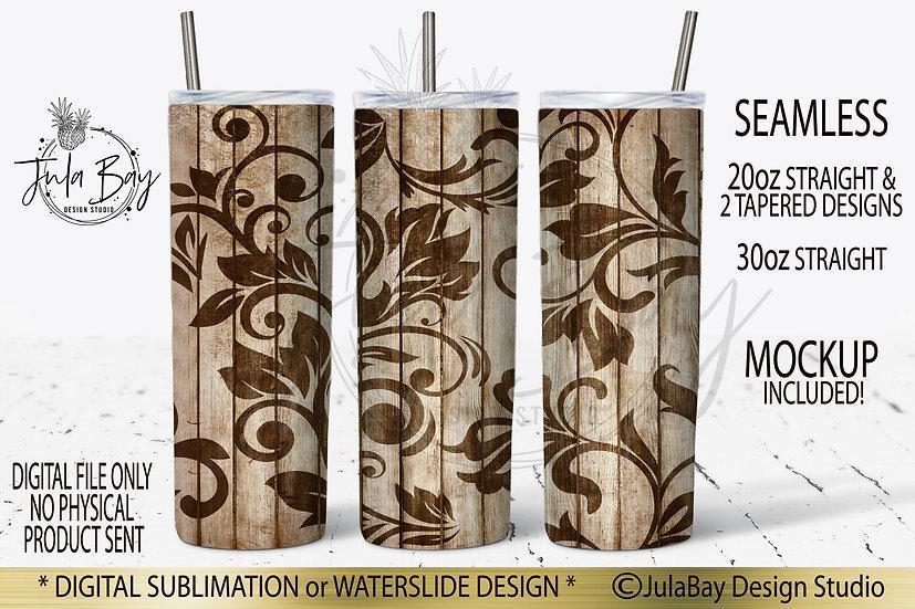 Tooled Leather Peekaboo Skinny Tumbler Sublimation Design PNG Woodgrain Western