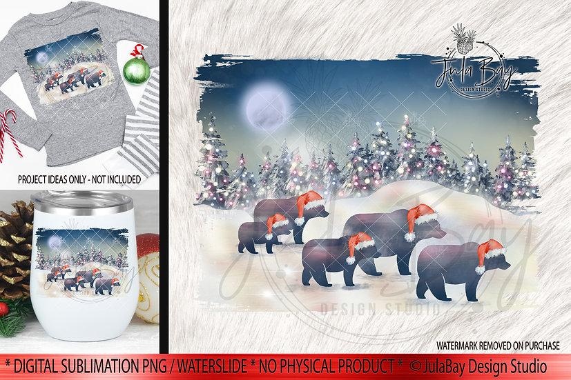Family of 5 Christmas Bears PNG - Christmas Family Jammies Design
