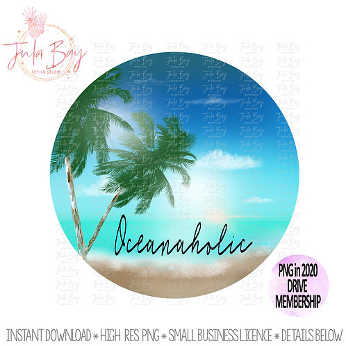 Ocean Lover PNG Sublimation Clipart - Oceanaholic Beach Painting Clipart