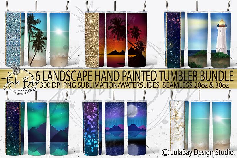 Landscape Tumbler Template Bundle 2 Red, Gold Teal, Alcohol Ink