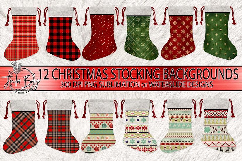 Christmas Stocking Sublimation Designs PNG Santa Stocking Buffalo Plaid