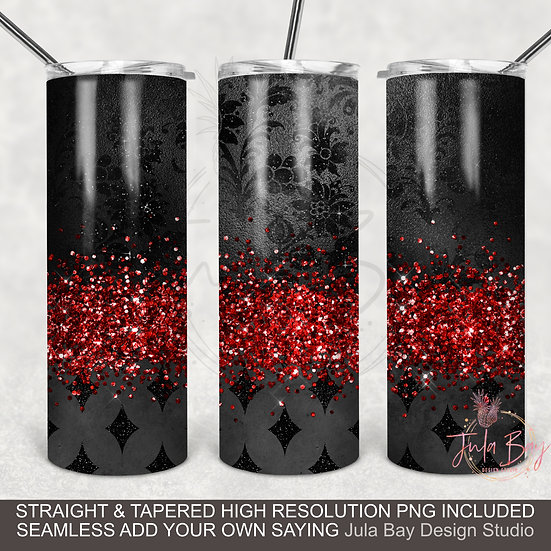 Elegant Black and Red Glitter Full Wrap Epoxy Style PNG sublimation design