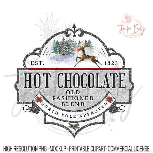 Hot Chocolate Christmas Sublimation Design Instant Download Cricut Silhouette