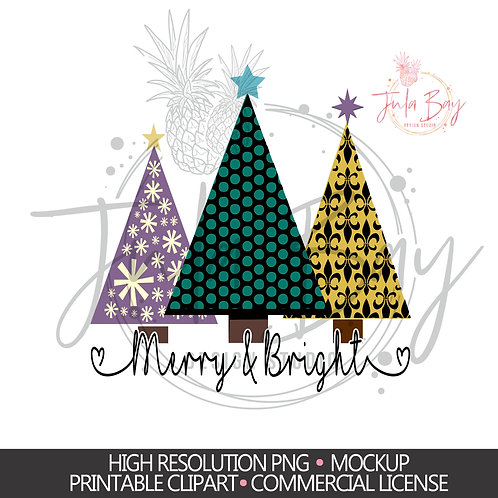 Colorful Patterned Christmas Tree PNG - Christmas Shirt Design - Merry & Bright