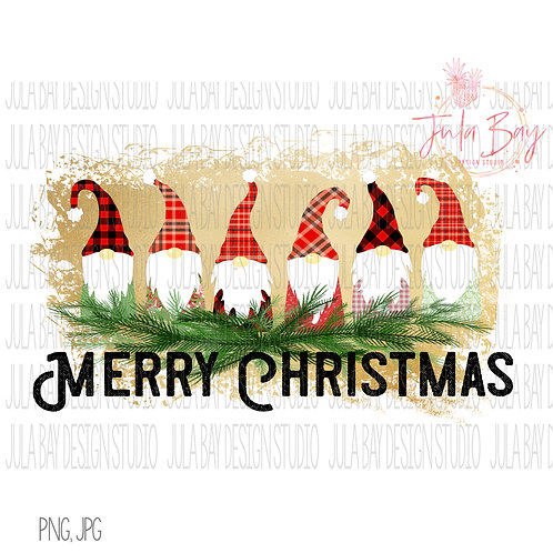 Gnome Family of 6 Merry Christmas Sublimation Clipart File