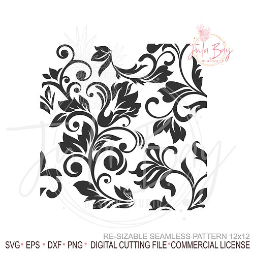 Seamless Tooled leather SVG, floral vines pattern, Swirly Seamless Pattern PNG