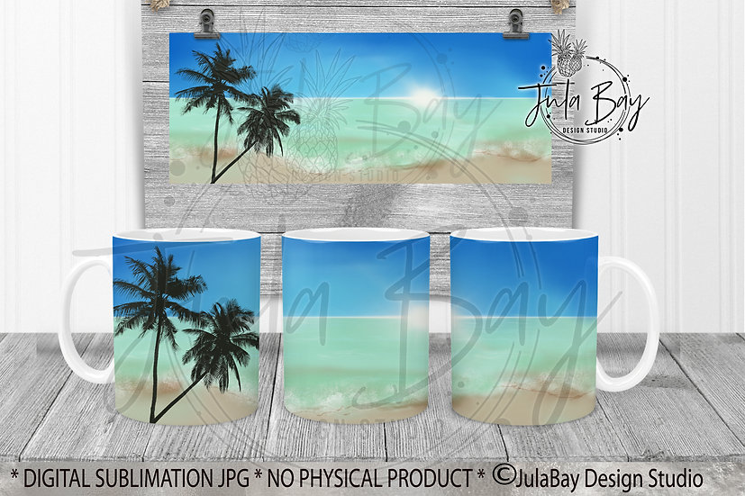 Beach Ocean Palm Tree Ocean Sublimation Mug Design PNG