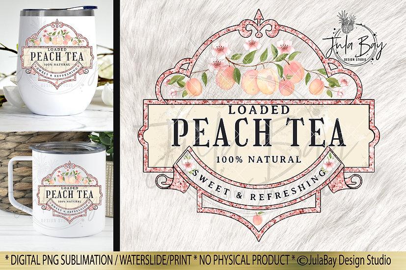 Loaded Peach Tea Sublimation Design Iced Tumbler Design Waterslide Design