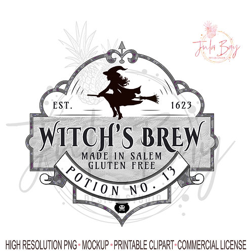 Witch's Brew PNG Halloween Mug Design Waterslide Decal Witches Brew PNG