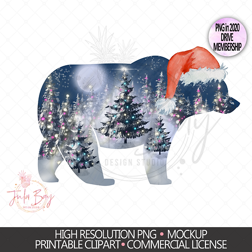 Christmas Bear With Hat and Christmas Trees PNG Moonlit Christmas Jammies Design