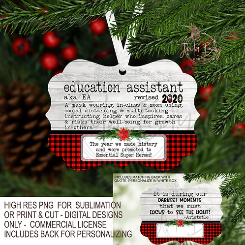 Education Assistant EA PNG 2020 Christmas Ornament definition for Pandemic