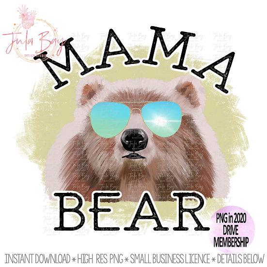 Mama Bear with Sunglasses  PNG Original Ar Watercolor