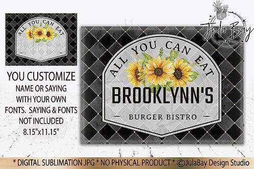 Customizable Black Classic Cutting Board Design - Sunflowers Sublimation Design