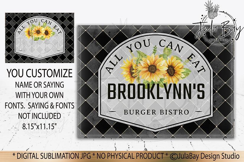 Customizable Black Classic Cutting Board Design - Sunflowers Sublimation Design