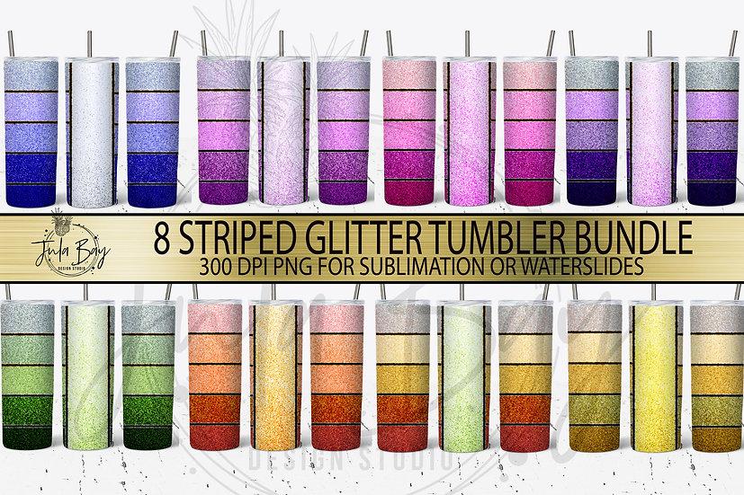 Glitter Skinny Ombre Striped Skinny Tumbler Sublimation Bundle