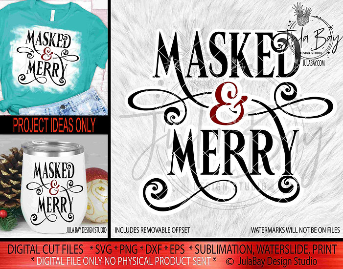 Masked and Merry SVG - 2021 Christmas SVG - Christmas Wine Glass Cutting