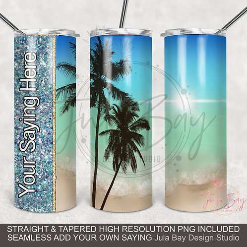 Ocean Scene with Palm Trees PNG Full wrap sublimation design for Skinny Tumblers