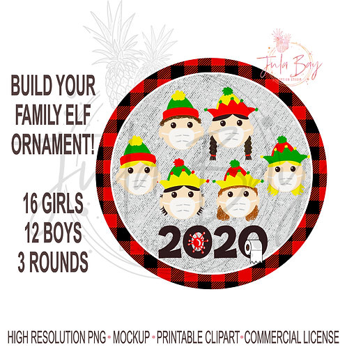 2020 Elves with Mask Ornament PNG - Build Your Own Family of Elves Toilet Paper