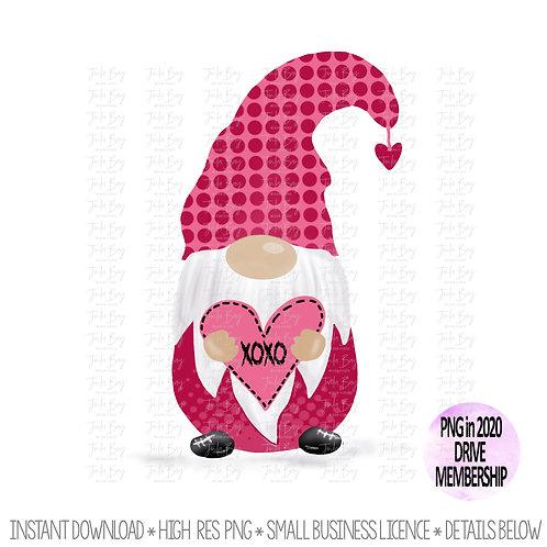 Valentines Day Gnome XOXO Clipart - Love Gnome PNG Gnome Sublimation Design