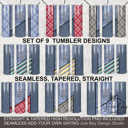 BUNDLE Full Wrap Tumbler Designs PNG Business Casual Blue Jeans Plaid Western