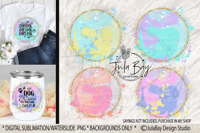 Round Paint Splash Sublimation Backgrounds Designs PNG
