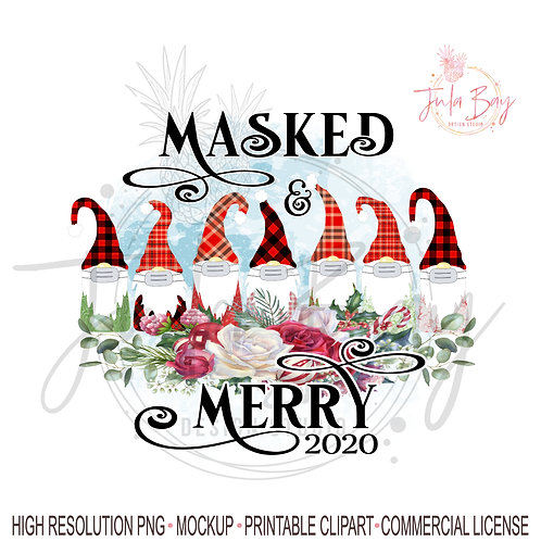 7 Gnomes with Masked and Merry Christmas PNG Sublimation Design Family of 7
