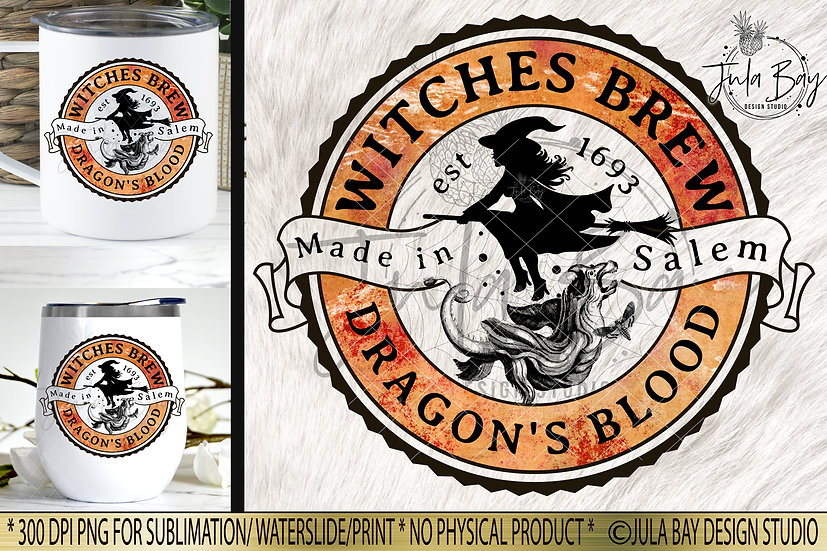Witches Brew Dragon's Blood Halloween Label PNG Potion Label Elixir