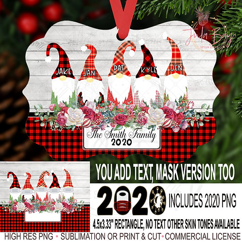 2020 Family Christmas Ornaments Family of 5 Gnomes with Masks Covid Chri