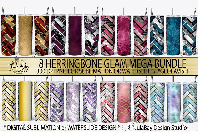 Herringbone Tumbler Design Bundle Sublimation PNG Waterslide Tumbler Geolavish