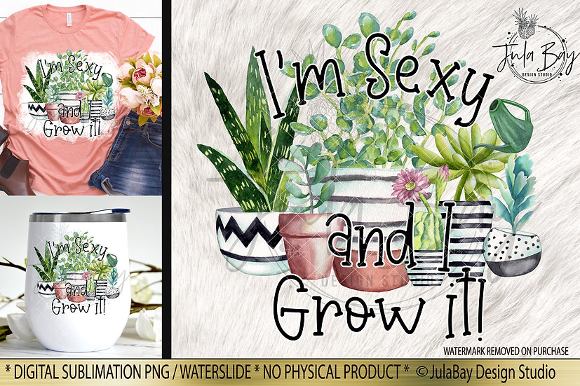 I'm Sexy and I grow It Funny Sublimation Design for Succulent Plant Lovers PNG