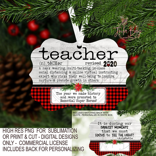 Teacher PNG 2020 Christmas Ornament definition for Pandemic
