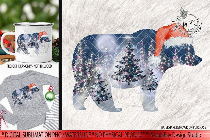 Christmas Bear With Hat and Christmas Trees PNG Moonlit Christmas Jammies Design