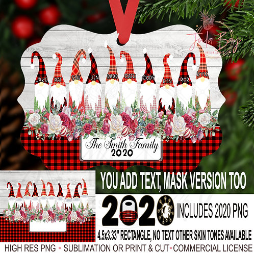 Christmas Ornament Family of 10 Gnomes with Masks Sublimation Design PNG