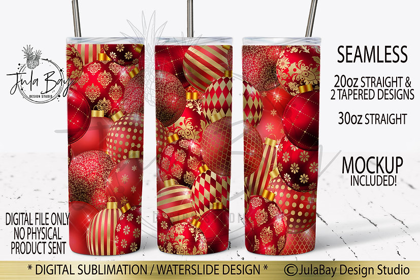 Christmas Ball Skinny Tumbler Sublimation Design Red and Gold Ornaments
