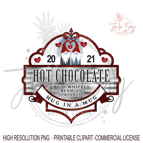 Hot Chocolate Valentines Day Sublimation Design PNG Masked Gnome Couple