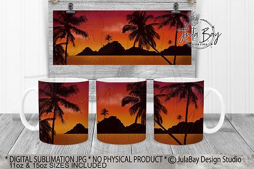 Beach Sunset Palm Tree Ocean Mountains Sublimation Mug Design PNG
