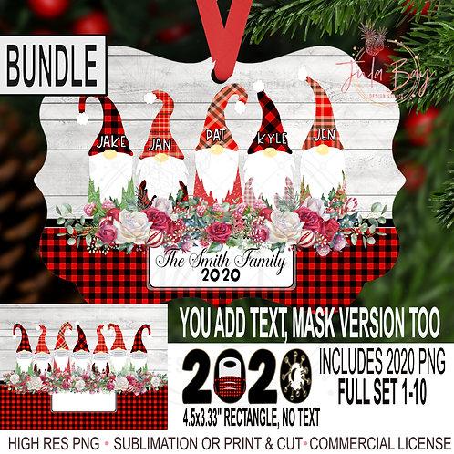 BUNDLE Gnome Family Christmas Ornament Bundle PNG 2020 Gnomes with Mask