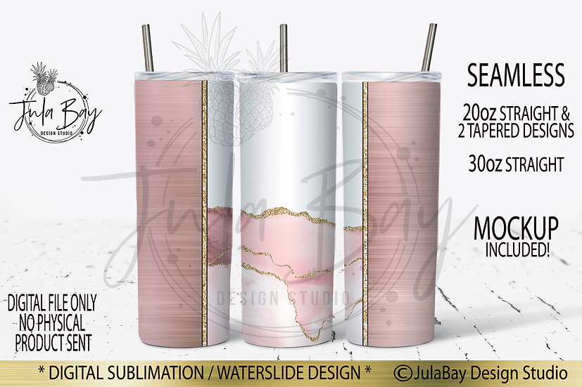 Seamless Blush Pink Agate Gold Glitter sublimation design for Skinny Tumblers