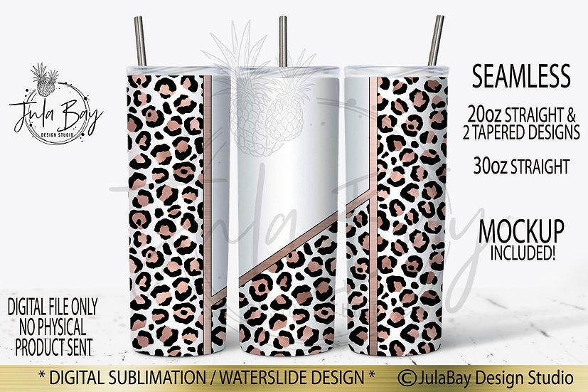 Rose Gold Leopard Print Skinny Tumbler Wrap PNG Sublimation Design PNG Seamless